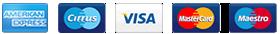 Accettiamo pagamenti anche tramite le seguenti carte di credito